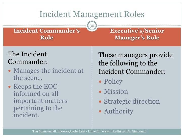Incident Commander's Role<br />Executive's/Senior Manager's Role<br />Tim Bonno email: tjb0000@swbell.net - LinkedIn: www....