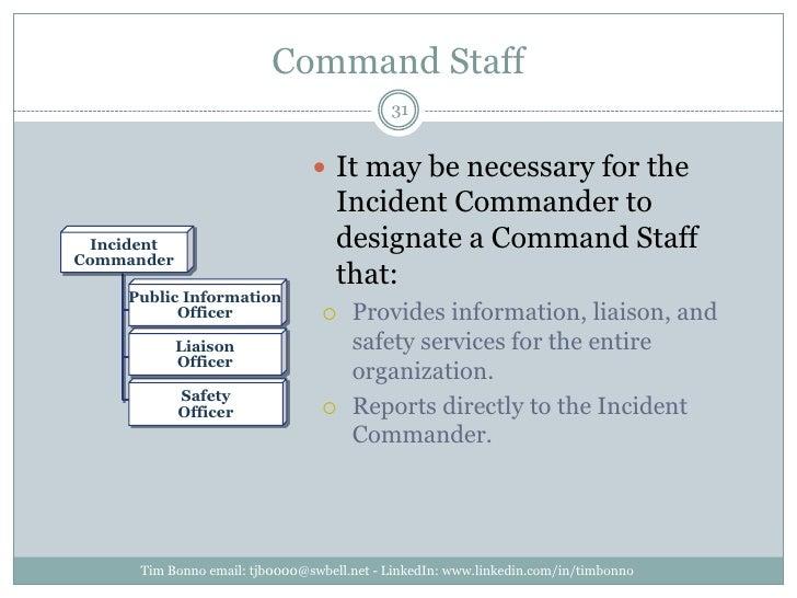 Command Staff<br />Incident<br />Commander<br />Public Information<br />Officer<br />Liaison<br />Officer<br />Safety<br /...