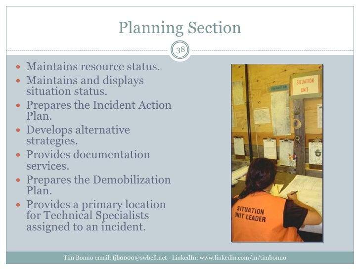 Planning Section<br />Tim Bonno email: tjb0000@swbell.net - LinkedIn: www.linkedin.com/in/timbonno<br />Maintains resource...