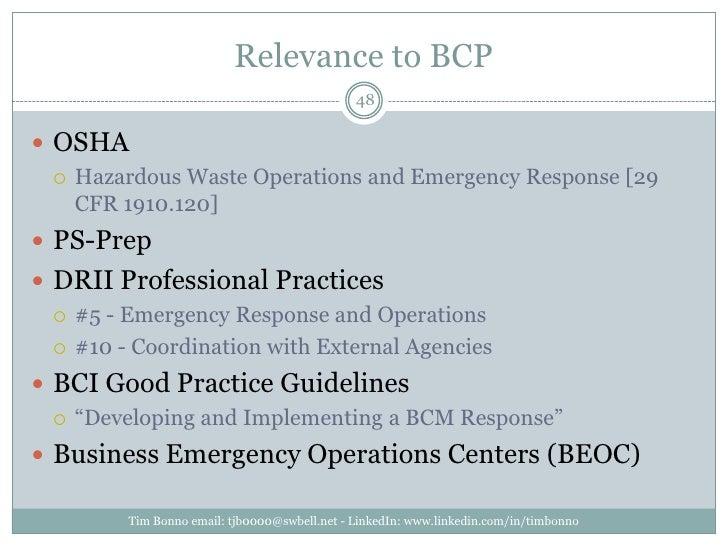 Relevance to BCP<br />Tim Bonno email: tjb0000@swbell.net - LinkedIn: www.linkedin.com/in/timbonno<br />OSHA<br />Hazardou...