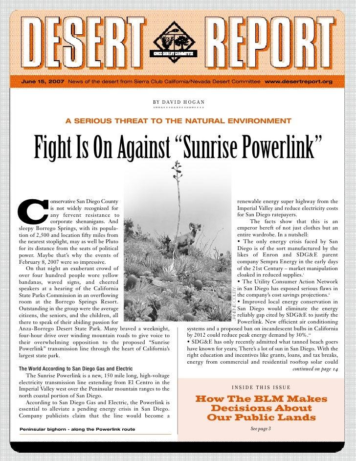 June 2007 Desert Report, CNCC Desert Committee