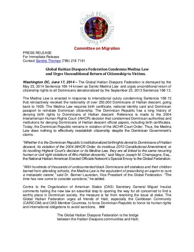 Committee on Migration PRESS RELEASE For Immediate Release Contact Sandra Thomas (786) 218 7161 Global Haitian Diaspora Fe...