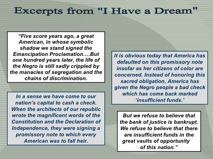 """Excerpts from """"I Have a Dream"""" """" Five score years ago, a great American, in whose symbolic shadow we stand signe..."""