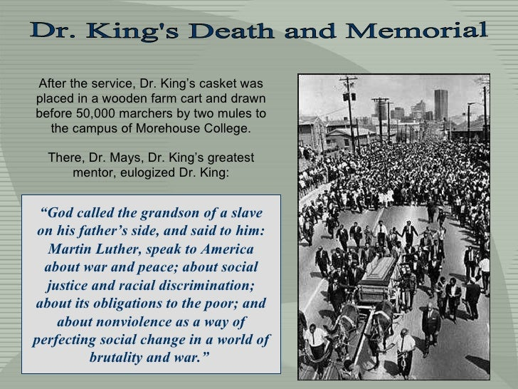 After the service, Dr. King's casket was placed in a wooden farm cart and drawn before 50,000 marchers by two mules to the...