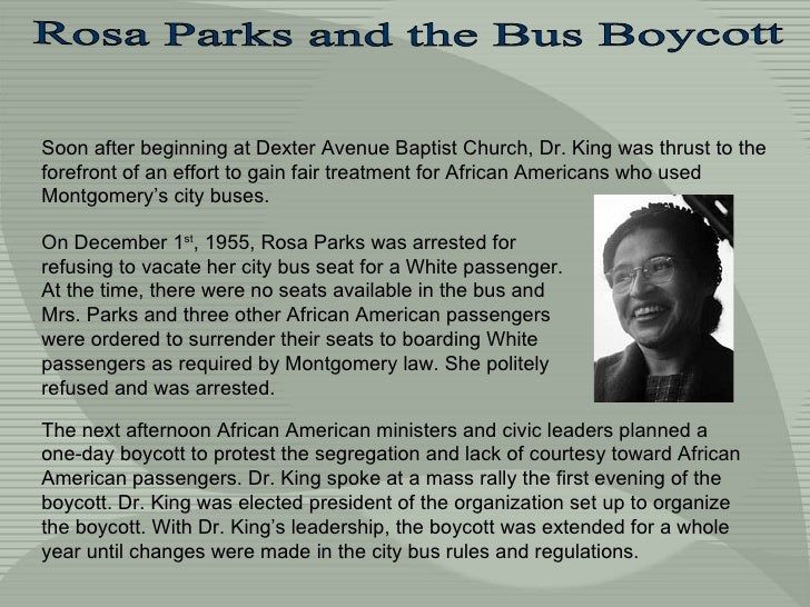 Soon after beginning at  Dexter Avenue Baptist Church, Dr. King was thrust to the forefront of an effort to gain fair trea...