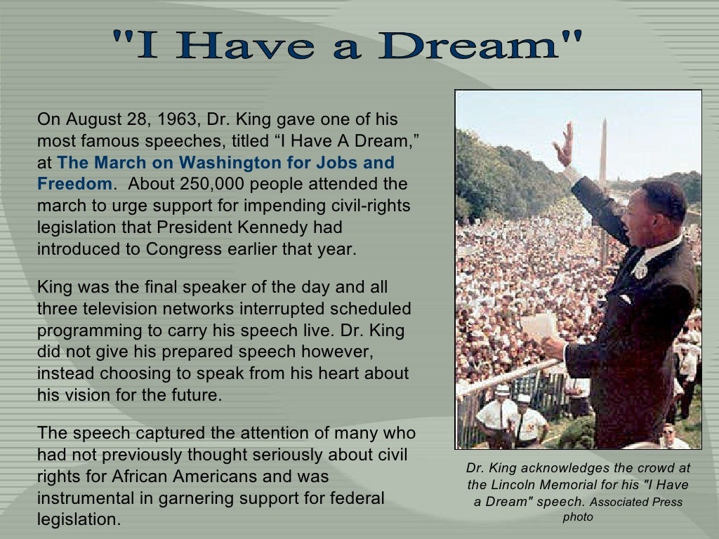 "essay on martin luther king jr i have a dream Analysis of persuasive speech ""i have a dream"" by martin luther king different rhetorical strategies of martin luther king in his speech ethos, pathos and logos in speech ""i have a dream""."