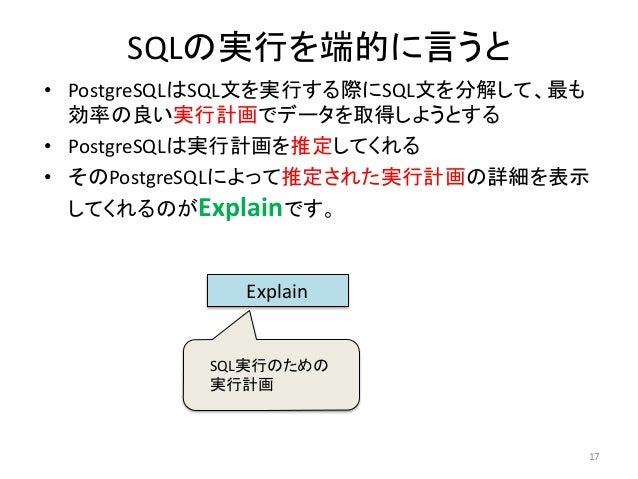 SQLの実行を端的に言うと  • PostgreSQLはSQL文を実行する際にSQL文を分解して、最も  効率の良い実行計画でデータを取得しようとする  • PostgreSQLは実行計画を推定してくれる  • そのPostgreSQLによって...
