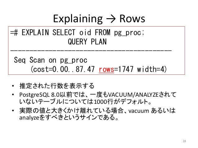 24  Explaining → Rows  =# EXPLAIN SELECT oid FROM pg_proc;  QUERY PLAN  ------------------------------------------  Seq Sc...