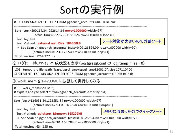 51  Sortの実行例  # EXPLAIN ANALYZE SELECT * FROM pgbench_accounts ORDER BY bid;  --------------------------------------------...
