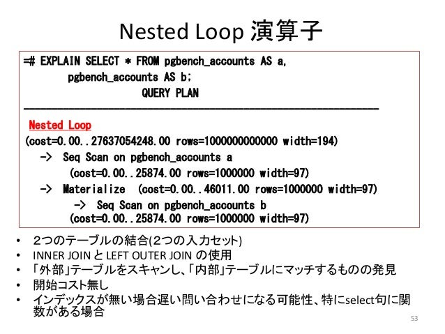 53  Nested Loop 演算子  =# EXPLAIN SELECT * FROM pgbench_accounts AS a,  pgbench_accounts AS b;  • 2つのテーブルの結合(2つの入力セット)  • IN...