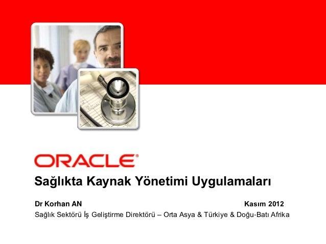 Sağlıkta Kaynak Yönetimi UygulamalarıDr Korhan AN                                                     Kasım 2012Sağlık Sek...