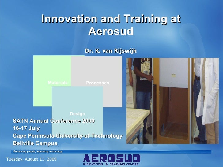 Innovation and Training at Aerosud Dr. K. van Rijswijk Tuesday, August 11, 2009 SATN Annual Conference 2009 16-17 July Cap...