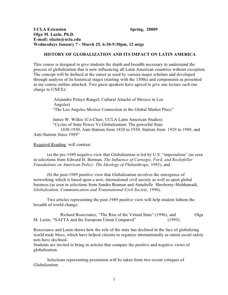UCLA Extension                                Spring, 20009 Olga M. Lazin, Ph.D. E-mail: olazin@ucla.edu Wednesdays Januar...