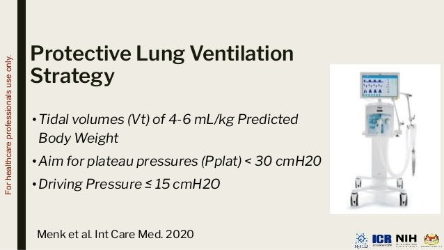 Protective Lung Ventilation Strategy •Tidal volumes (Vt) of 4-6 mL/kg Predicted Body Weight •Aim for plateau pressures (Pp...