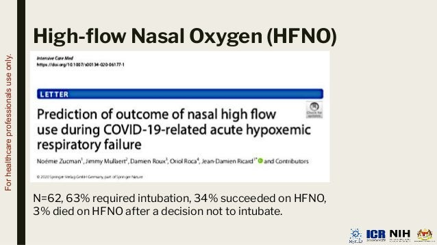 High-flow Nasal Oxygen (HFNO) N=62, 63% required intubation, 34% succeeded on HFNO, 3% died on HFNO after a decision not to...