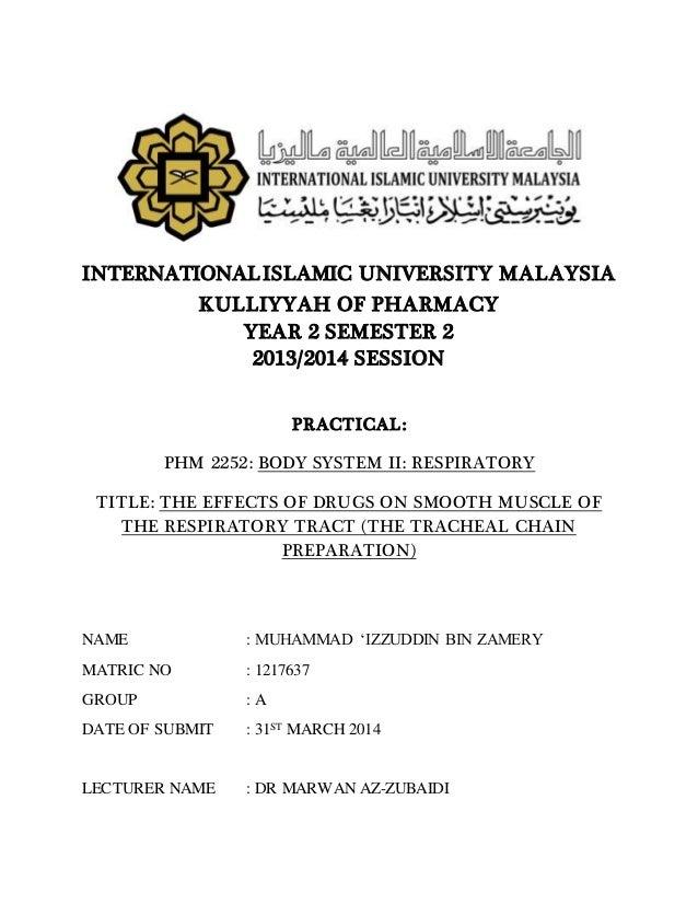 INTERNATIONALISLAMIC UNIVERSITY MALAYSIA KULLIYYAH OF PHARMACY YEAR 2 SEMESTER 2 2013/2014 SESSION PRACTICAL: PHM 2252: BO...