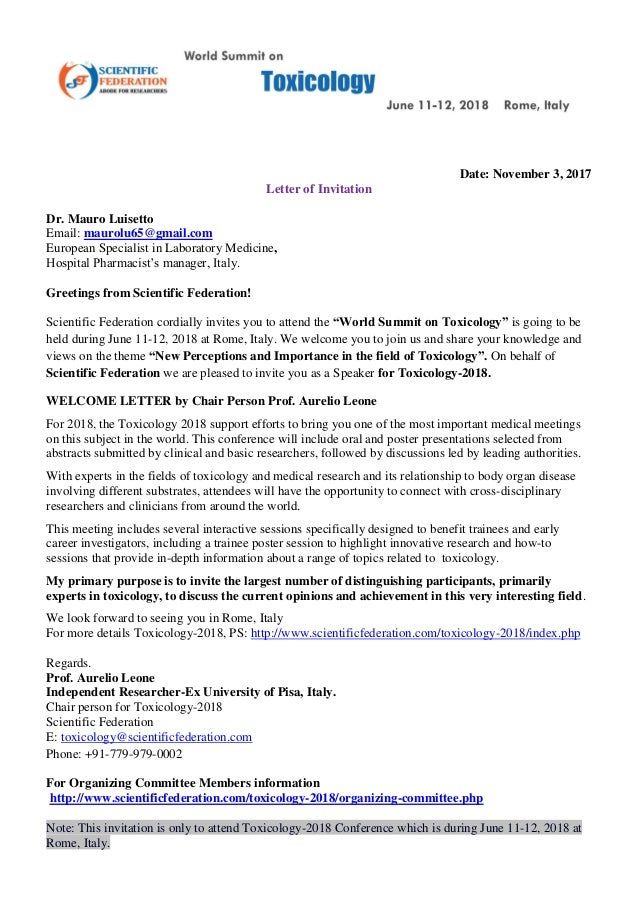 Dr mauro luisetto official invitation letter world summint toxicolog…