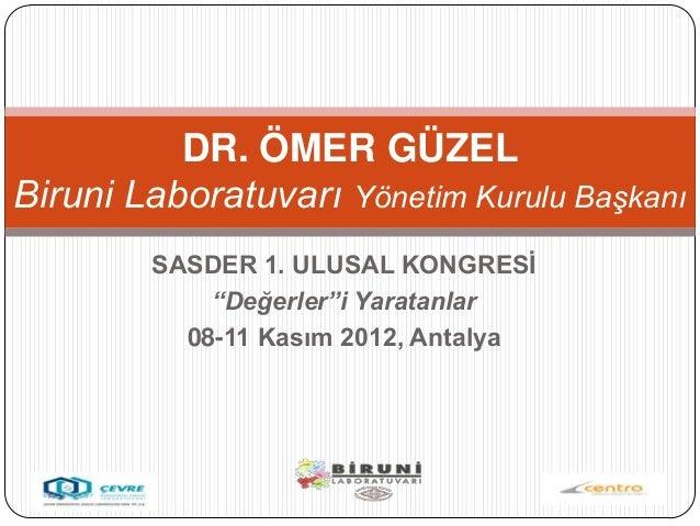 """DR. ÖMER GÜZELBiruni Laboratuvarı Yönetim Kurulu Başkanı        SASDER 1. ULUSAL KONGRESĠ            """"Değerler""""i Yaratanla..."""