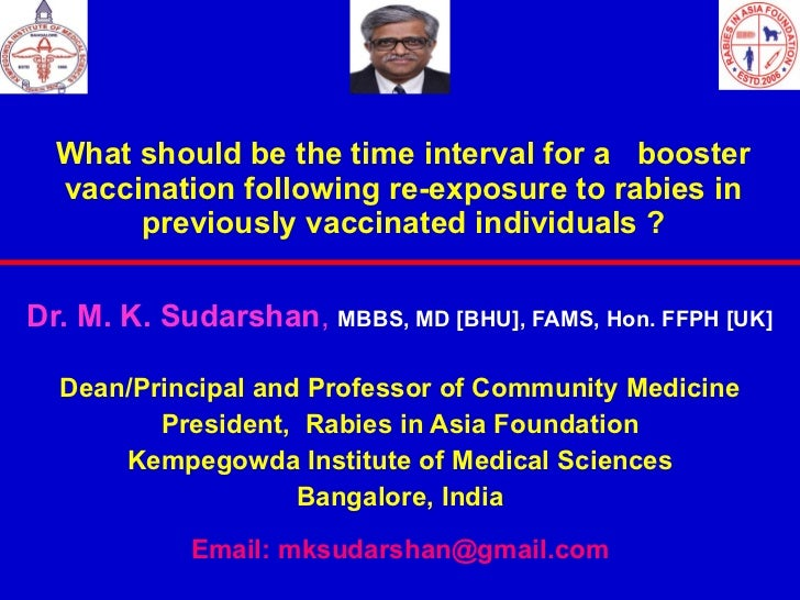 What should be the time interval for a  booster vaccination following re-exposure to rabies in previously vaccinated indiv...