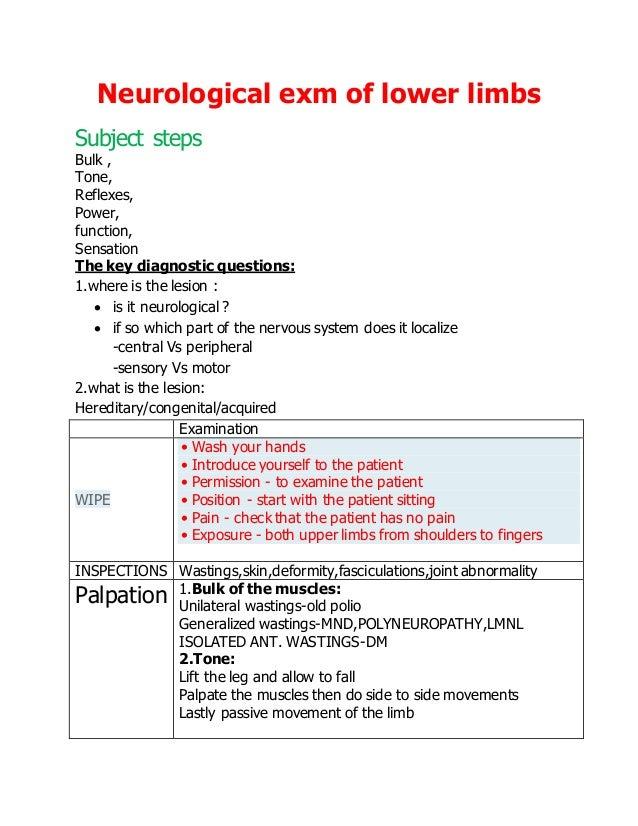 neurological exam of lower limb