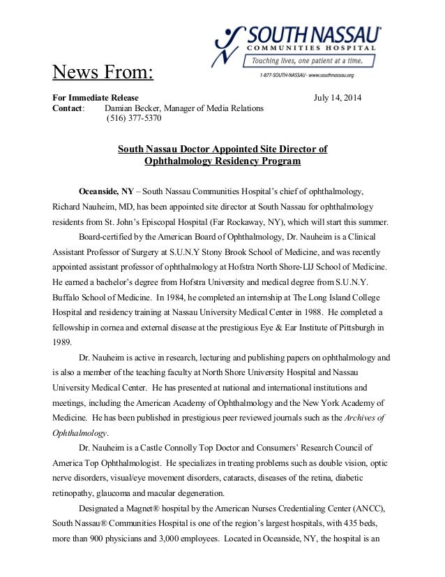 News From: For Immediate Release July 14, 2014 Contact: Damian Becker, Manager of Media Relations (516) 377-5370 South Nas...
