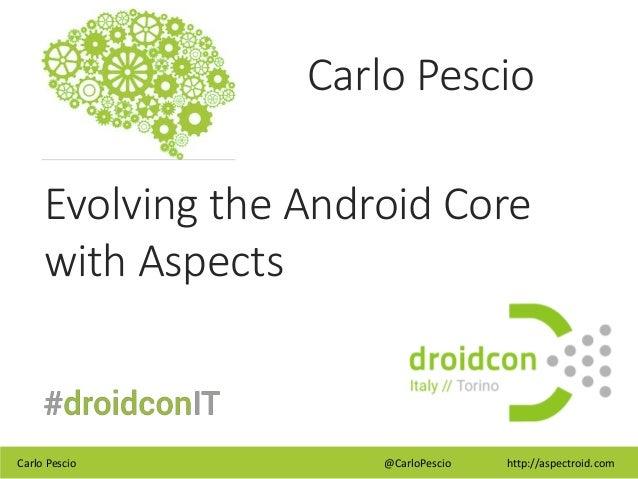 Carlo Pescio @CarloPescio http://aspectroid.com Carlo Pescio Evolving the Android Core with Aspects
