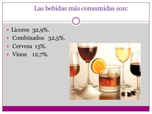 Las bebidas más consumidas son: Licores 32,9%. Combinados 32,5%. Cerveza 15%. Vinos   12,7%.