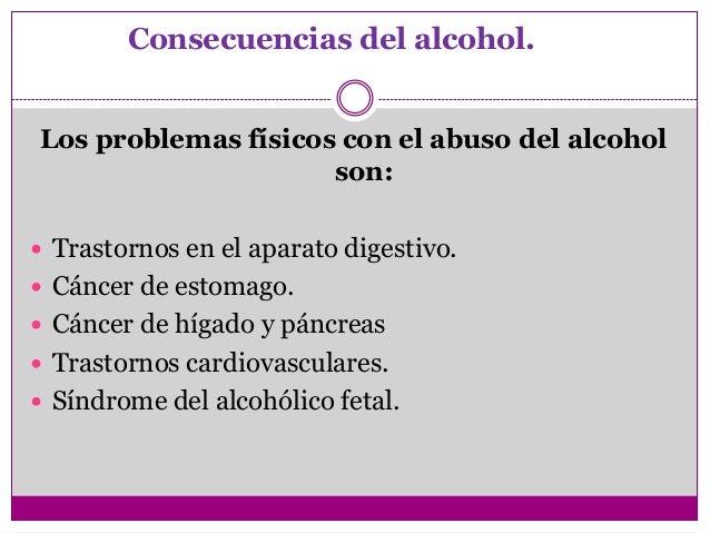 Consecuencias del alcohol.Los problemas físicos con el abuso del alcohol                     son: Trastornos en el aparat...