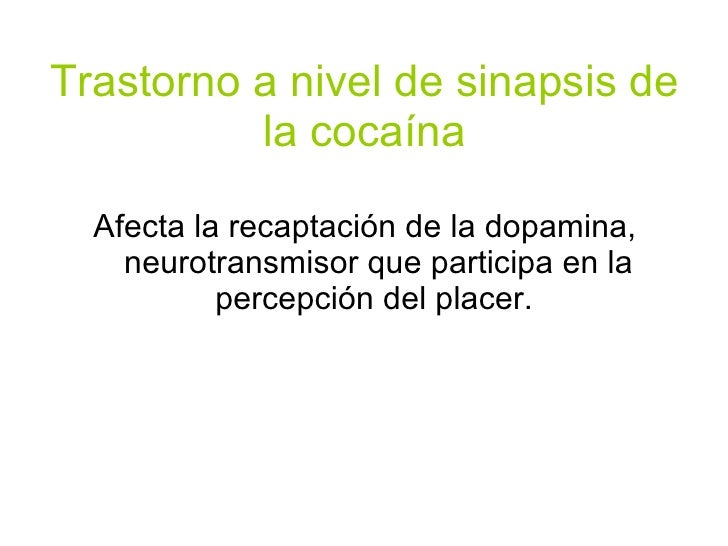 Trastorno a nivel de sinapsis de la cocaína <ul><li>Afecta la recaptación de la dopamina, neurotransmisor que participa en...