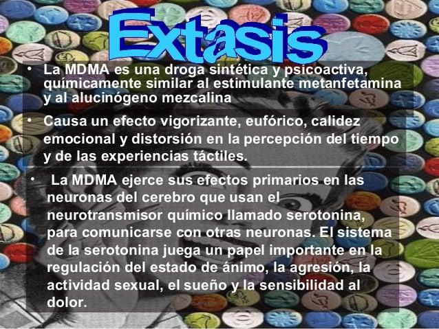• La MDMA es una droga sintética y psicoactiva, químicamente similar al estimulante metanfetamina y al alucinógeno mezcali...