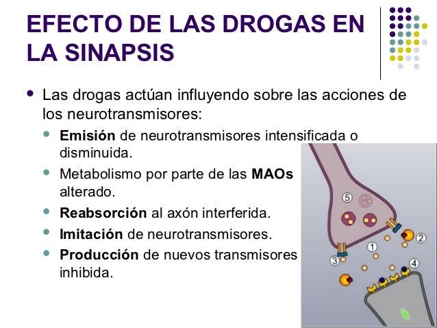 EFECTO DE LAS DROGAS ENLA SINAPSIS   Las drogas actúan influyendo sobre las acciones de    los neurotransmisores:       ...