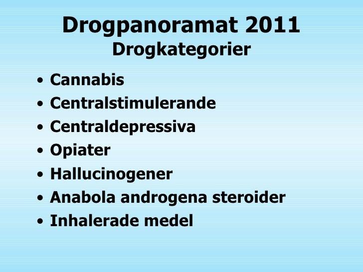 Drogpanoramat 2011 Drogkategorier <ul><li>Cannabis </li></ul><ul><li>Centralstimulerande </li></ul><ul><li>Centraldepressi...