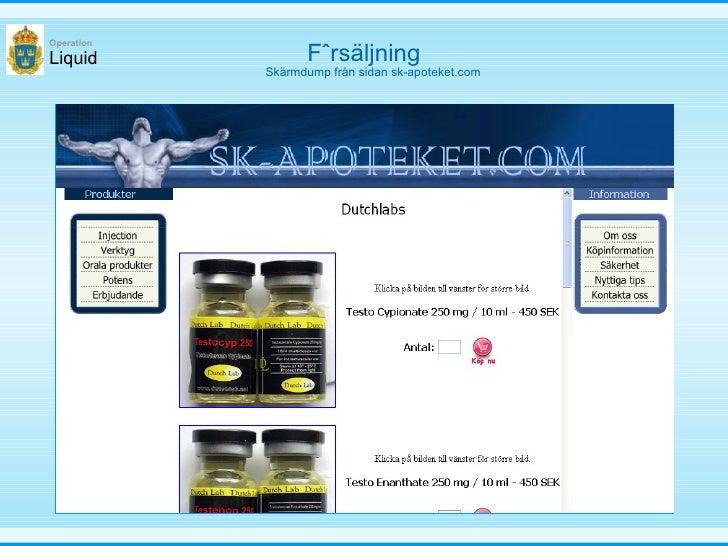 Försäljning Liquid Operation Skärmdump från sidan sk-apoteket.com