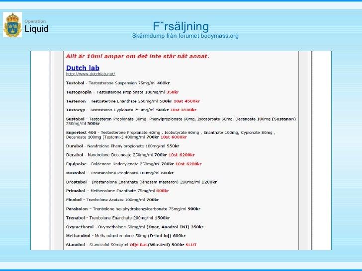 Försäljning Liquid Operation Skärmdump från forumet bodymass.org