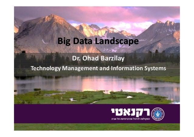 Big Data LandscapeBig Data Landscape Dr. Ohad Barzilay Technology Management and Information SystemsTechnology Management ...