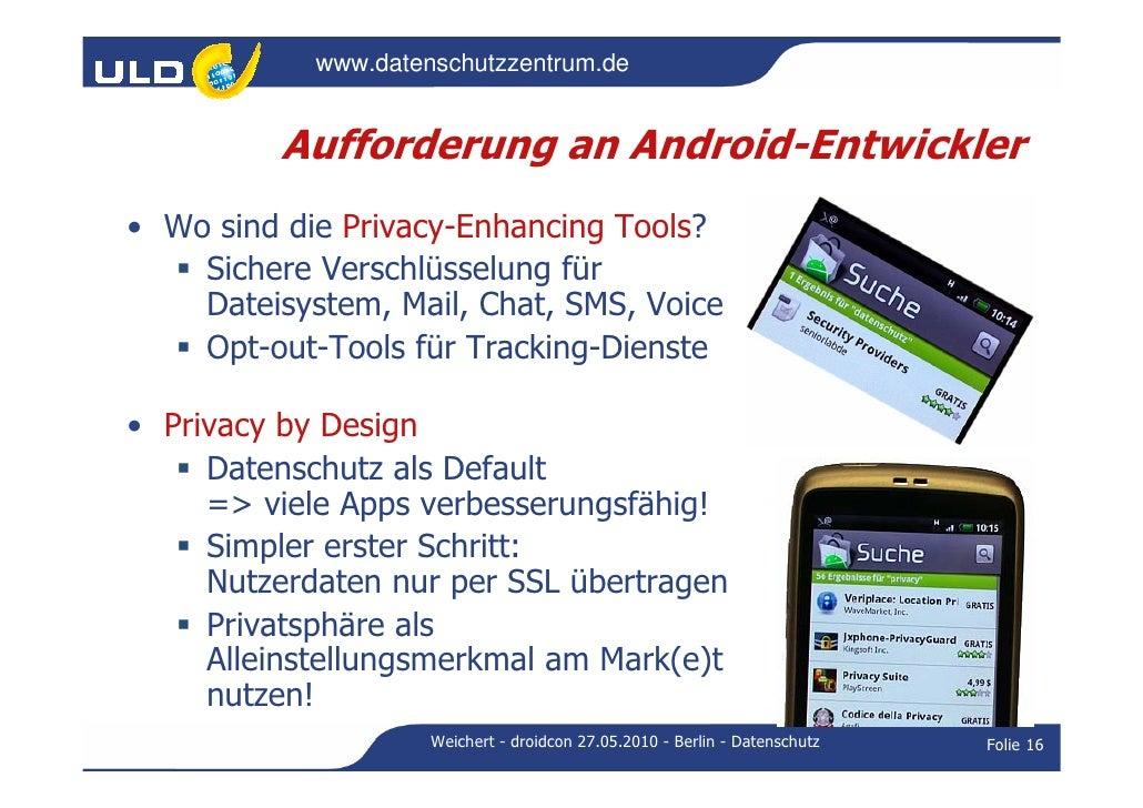 Droidcon 2010: Datenschutz in mobilen Anwendungen speziell beim Betri…