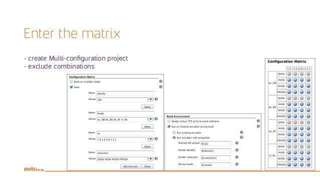 Enter the matrix - create Multi-configuration project - exclude combinations