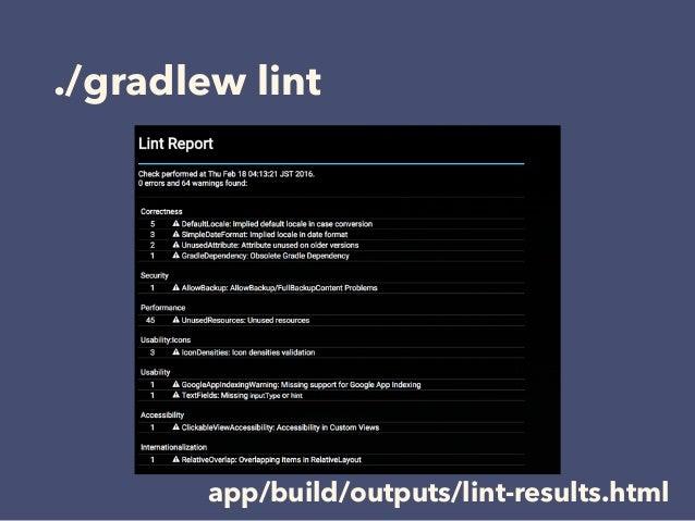 ./gradlew lint app/build/outputs/lint-results.html