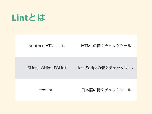 Lintとは Another HTML-lint HTMLの構文チェックツール JSLint, JSHint, ESLint JavaScriptの構文チェックツール textlint 日本語の構文チェックツール