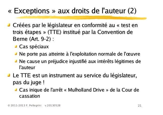 21© 2011-2013 F. Pellegrini v.20130528« Exceptions » aux droits de lauteur (2)« Exceptions » aux droits de lauteur (2)Créé...