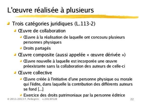 22© 2011-2013 F. Pellegrini v.20130528œL uvre réalisée à plusieursœL uvre réalisée à plusieursTrois catégories juridiques ...
