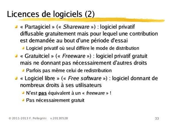33© 2011-2013 F. Pellegrini v.20130528Licences de logiciels (2)Licences de logiciels (2)«« PartagicielPartagiciel » («» («...