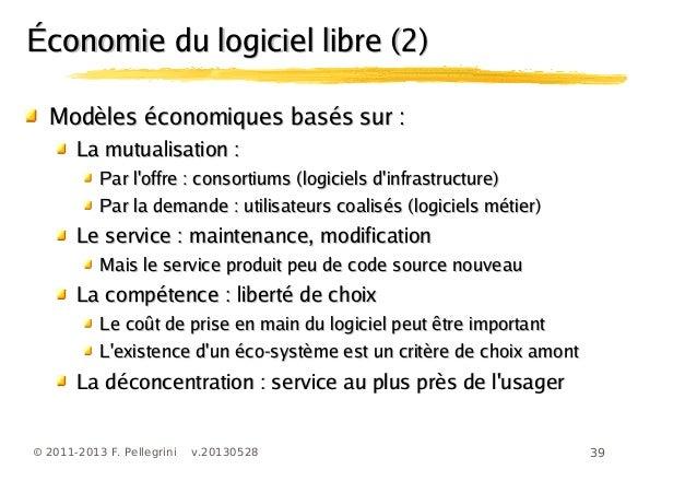 39© 2011-2013 F. Pellegrini v.20130528Économie du logiciel libre (2)Économie du logiciel libre (2)Modèles économiques basé...