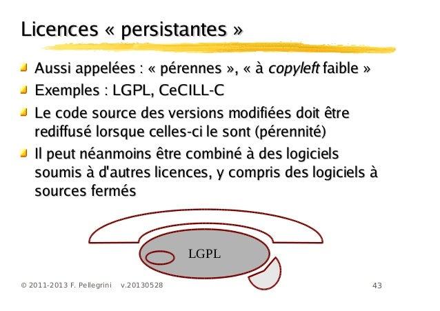 43© 2011-2013 F. Pellegrini v.20130528Licences « persistantes »Licences « persistantes »Aussi appelées :Aussi appelées : «...