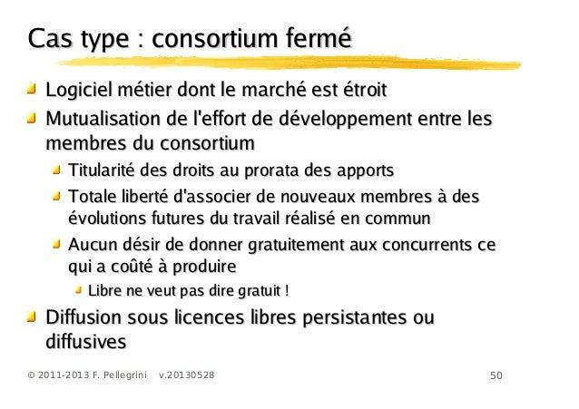 50© 2011-2013 F. Pellegrini v.20130528Cas type : consortium ferméCas type : consortium ferméLogiciel métier dont le marché...
