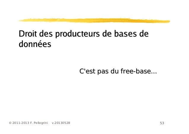 53© 2011-2013 F. Pellegrini v.20130528Droit des producteurs de bases deDroit des producteurs de bases dedonnéesdonnéesCest...