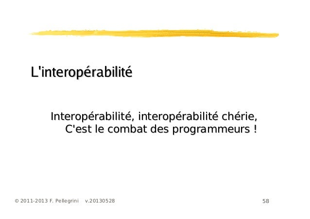 58© 2011-2013 F. Pellegrini v.20130528LinteropérabilitéLinteropérabilitéInteropérabilité, interopérabilité chérie,Interopé...