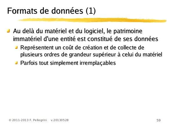 59© 2011-2013 F. Pellegrini v.20130528Formats de données (1)Formats de données (1)Au delà du matériel et du logiciel, le p...