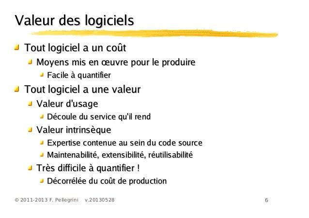 6© 2011-2013 F. Pellegrini v.20130528Valeur des logicielsValeur des logicielsTout logiciel a un coûtTout logiciel a un coû...