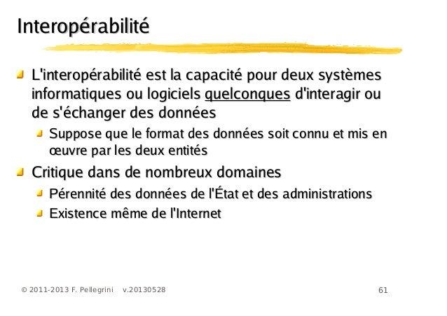 61© 2011-2013 F. Pellegrini v.20130528InteropérabilitéInteropérabilitéLinteropérabilité est la capacité pour deux systèmes...